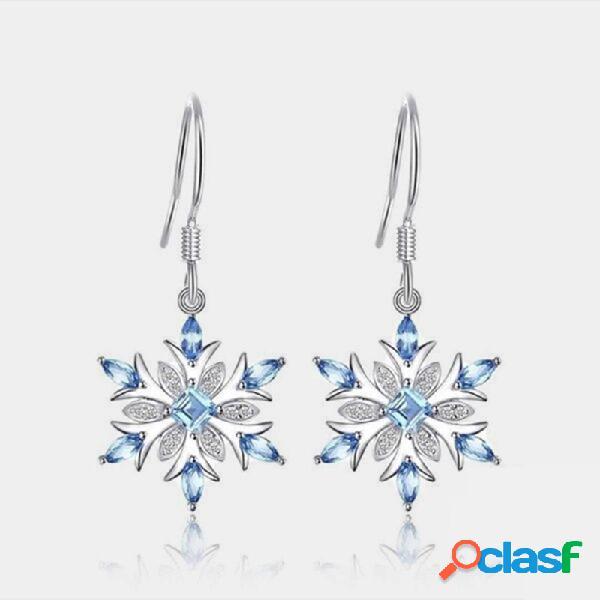 Flor de topacio azul claro Pendientes Gota de copo de nieve