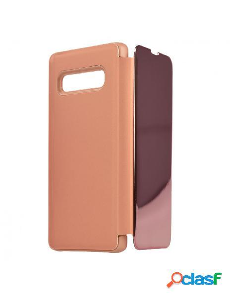 Funda Espejo Funda libro Rosa para Samsung Galaxy S10 Plus