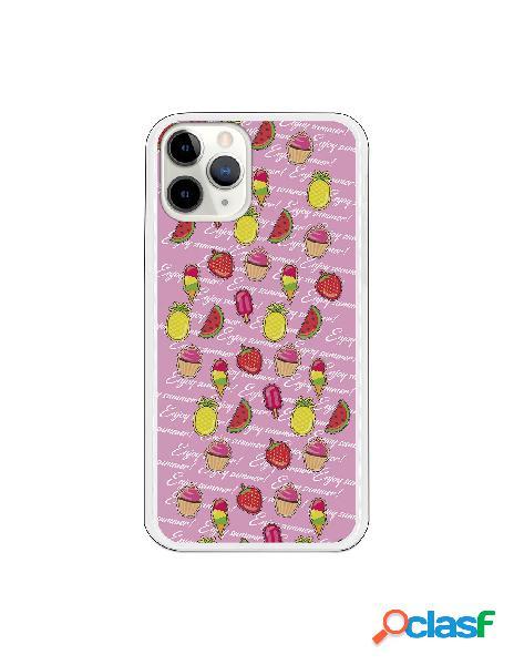 Funda Helados frutas fondo rosa para iPhone 11 Pro