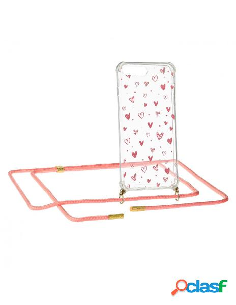 Funda Silicona Colgante Corazones para iPhone 8 Plus