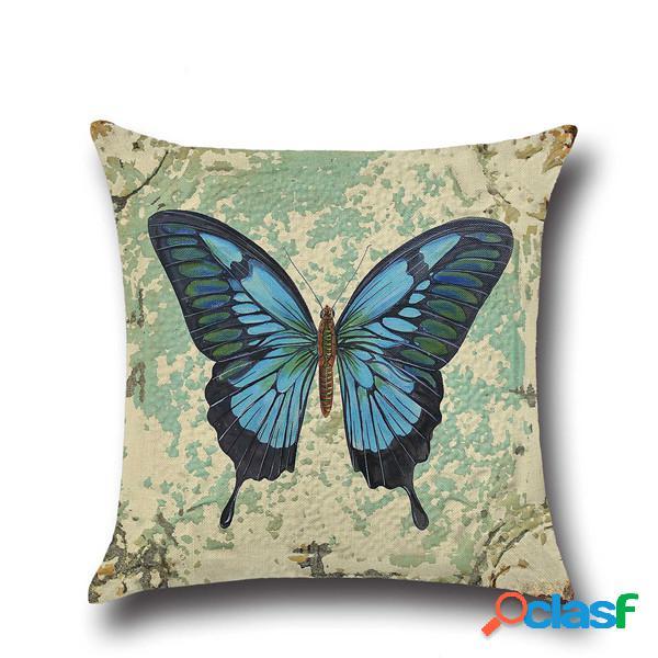 Funda de Almohada de Lino Vintage Mariposa Cojín Decorativo