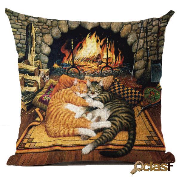 Funda de almohada de algodón de lino de estilo retro para