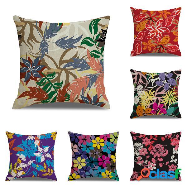 Funda de cojín de lino floral creativa moderna Soft Sofá