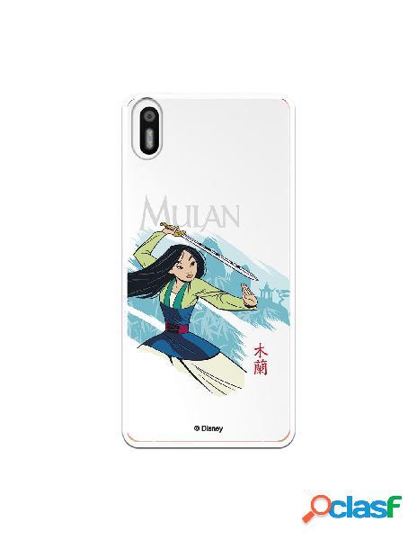 Funda para Bq Aquaris X5 Oficial de Disney Mulan Tipografia