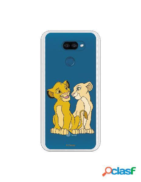 Funda para LG K40S Oficial de Disney Simba y Nala Silueta -
