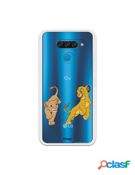 Funda para LG Q60 Oficial de Disney Simba y Nala jugando -