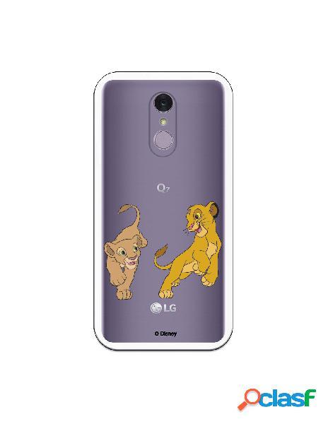 Funda para LG Q7 Oficial de Disney Simba y Nala jugando - El