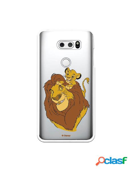 Funda para LG V30S ThinQ Oficial de Disney Mufasa y Simba