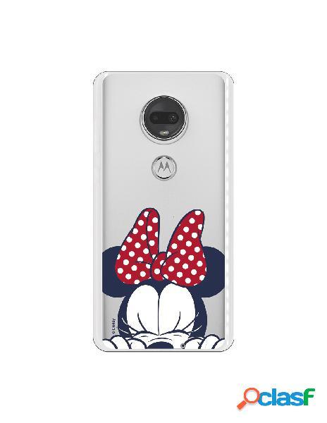 Funda para Motorola Moto G7 Oficial de Disney Minnie Cara -