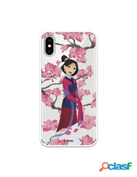 Funda para iPhone X Oficial de Disney Mulan Vestido Granate