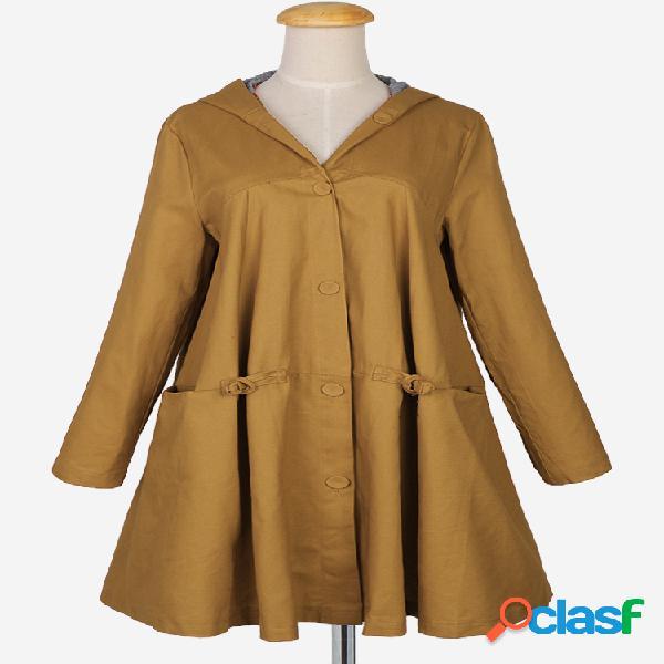 Gabardina con capucha de una línea de color sólido de moda