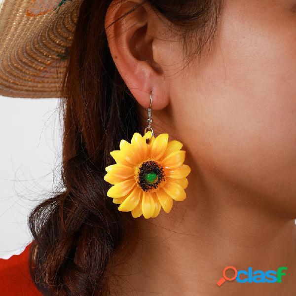 Girasol geométrico bohemio Colgante Pendientes Flor