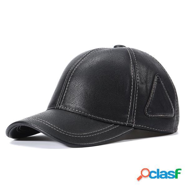 Gorra de béisbol casual ajustable de PU con orejeras para