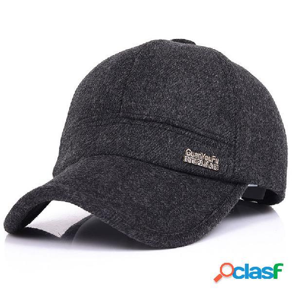 Gorra de béisbol cálida ajustable de lana con orejeras