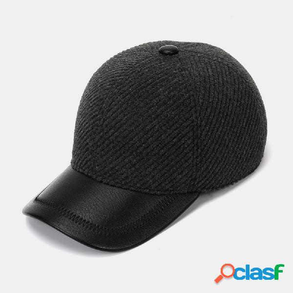 Gorra de béisbol de sarga negra y gris de lana Orejeras