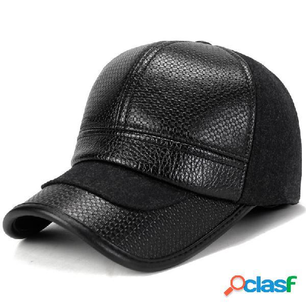 Gorra de béisbol para hombre con orejeras de cuero