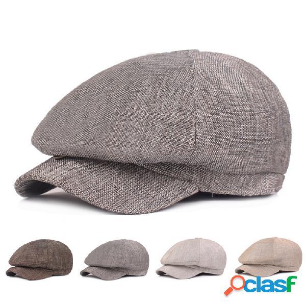 Gorra de boina de algodón de cáñamo color sólido moda