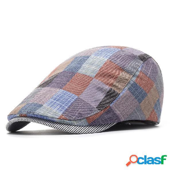 Gorra de boina de algodón de celosía de verano para mujer