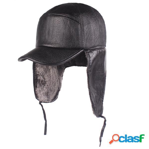 Gorra de cuero Orejeras para hombres Trampero de cuero