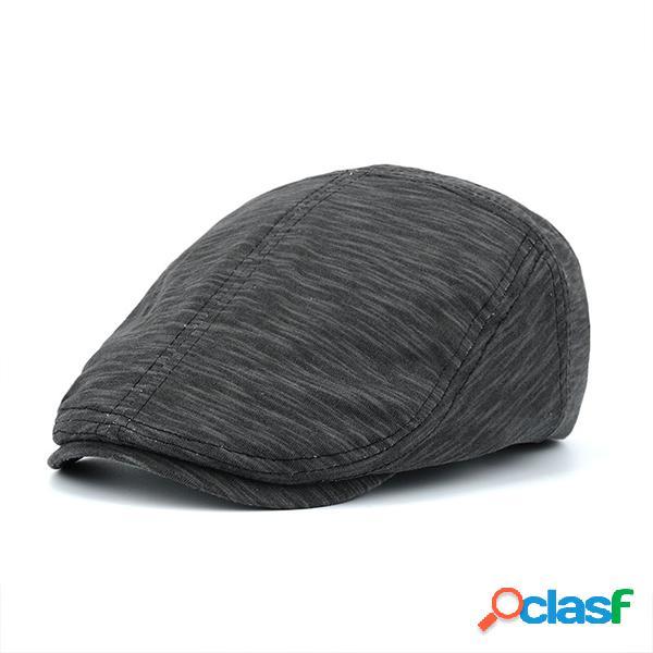 Gorro plano rayado ajustable de algodón con visera Boina