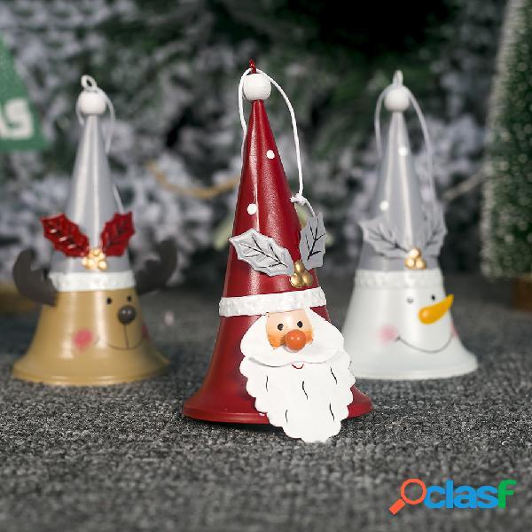 Hierro forjado Navidad Papá Noel Cuerno Campana Árbol de
