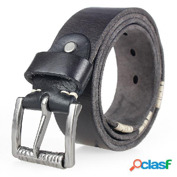 Hombre Retro Cinturón Piel Genuina Pin de correa de cintura