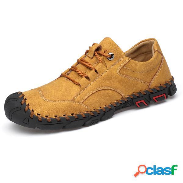 Hombre al aire libre Zapatos de cuero con costuras a mano
