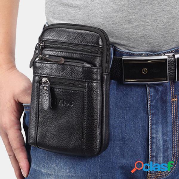 Hombres 7 Inch Casual Piel Genuina Cinturón Teléfono Bolsa