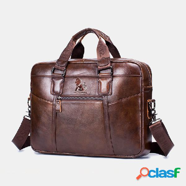 Hombres Impermeable Piel Genuina Business Briefcase Laptop