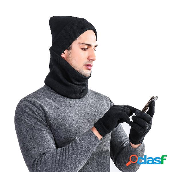 Hombres Invierno Mezcla de lana sólida Invierno al aire