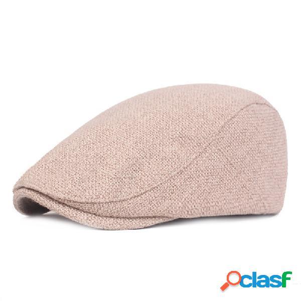 Hombres Mujer Algodón Lino Retro Boina Gorra Pato Sombrero