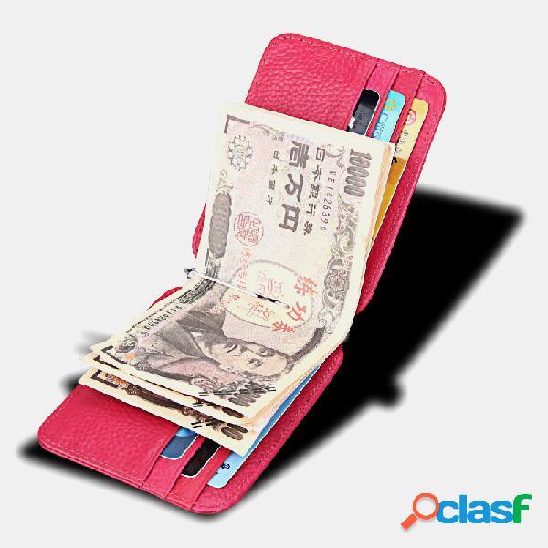 Hombres Mujer Bifold Piel Genuina Portatarjetas de billetera