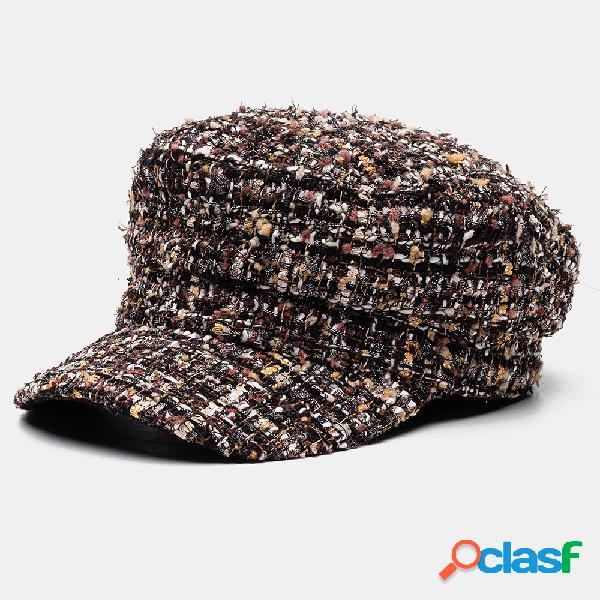Hombres Mujer Octagonal Sombrero Tweed Color sólido Lattice