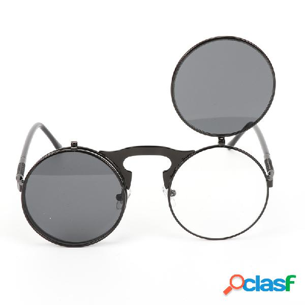 Hombres Mujer Retro Anti-UV400 Gafas de sol Retro Steampunk