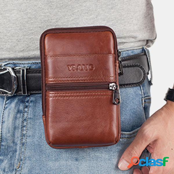 Hombres Piel Genuina 6.3 Inch Cinturón Bolsa Teléfono