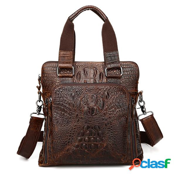 Hombres Piel Genuina Alligator Business Bolsa Bolso Laptop