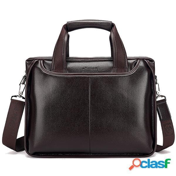 Hombres Piel Genuina Business Handbag Laptop Bolsa Maletín