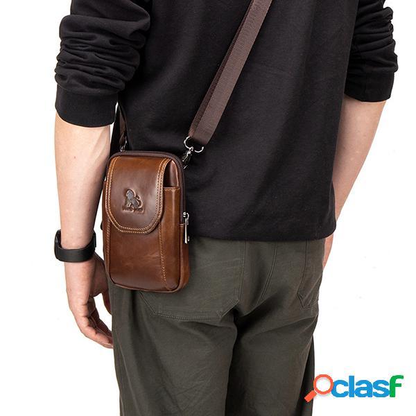 Hombres Piel Genuina Cintura Bolsa Casual Crossbody Bolsa