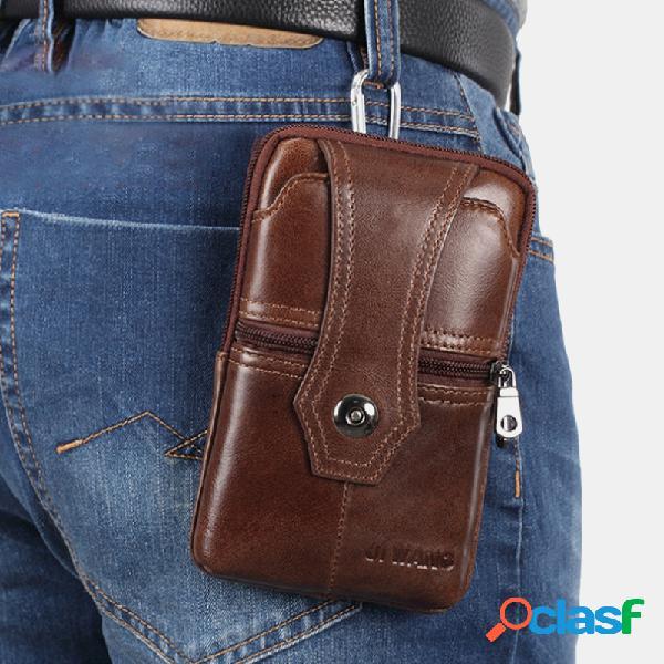 Hombres Piel Genuina Cinturón Teléfono Bolsa Casual