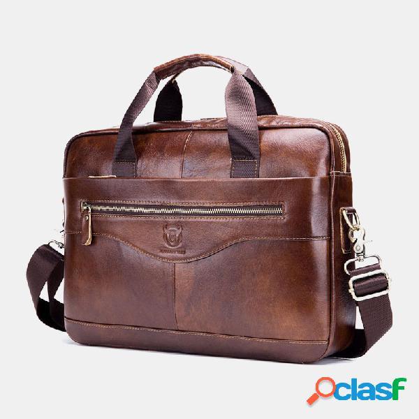 Hombres Piel Genuina Laptop Briefcase Crossbody Bolsa