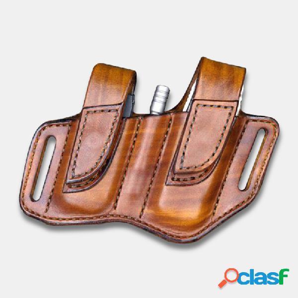 Hombres Piel Genuina Linterna Retro Cintura Cinturón Bolsa