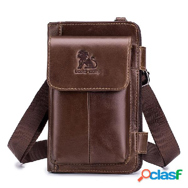 Hombres Piel Genuina Multi-carry Crossbody Bolsa 5 Cards