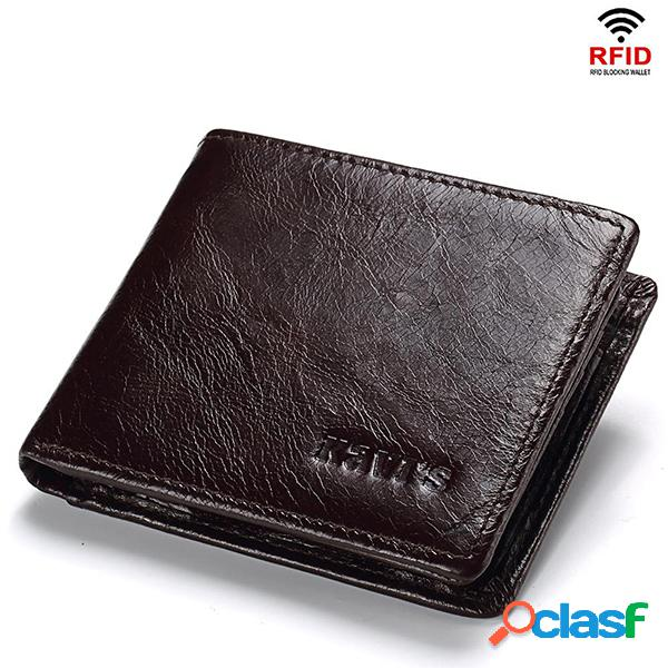 Hombres RFID 10Cards Coin Purse Casual Piel Genuina Wallet
