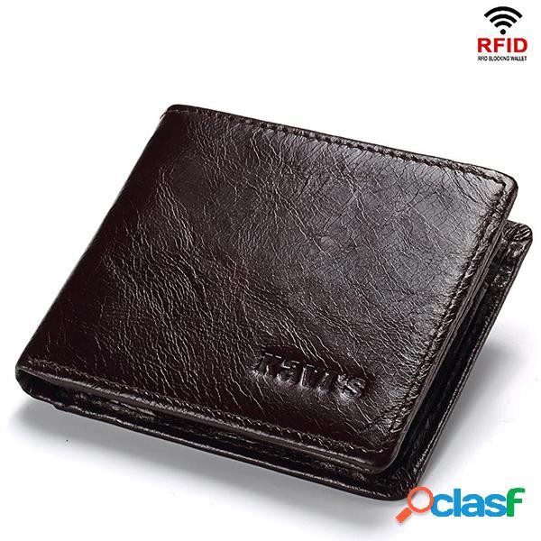 Hombres RFID 10Cards Coin Purse Casual Piel Genuina Wallet