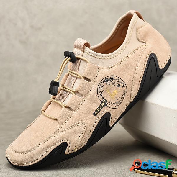 Hombres Soft Zapatos de cuero de conducción con cordones