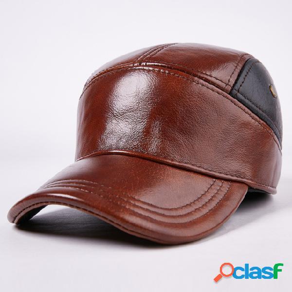 Hombres Sombrero Gorra Warm Oreja Protección Cuero Sombrero