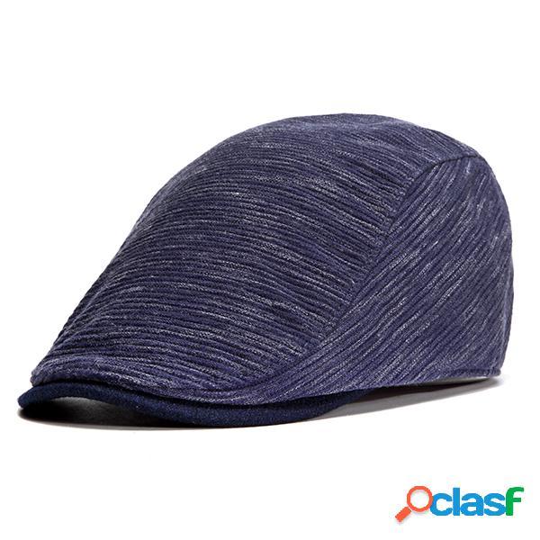 Hombres Unisex Retro Color sólido Beret Sombrero Casquillos
