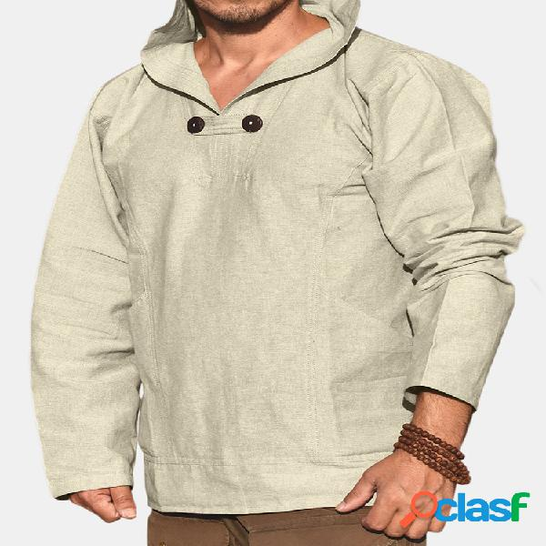 Hombres de algodón de lino estilo nacional de manga larga