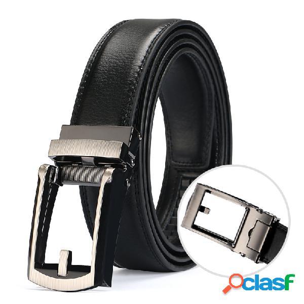 Hombres hebilla automática Piel Genuina Cinturón Cinturón