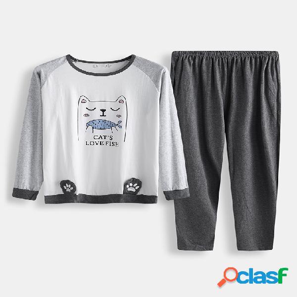 Hombres lindo Gato conjunto de pijama estampado algodón